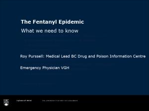 Fentanyl Epidemic Webinar – May 24, 2016